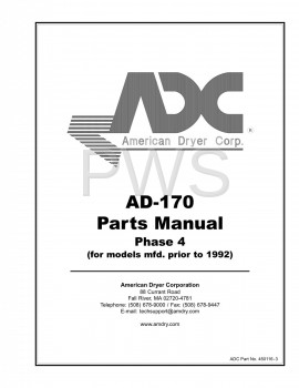 Diagrams, Parts and Manuals for American Dryer AD-170 Dryer