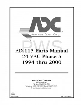 Diagrams, Parts and Manuals for American Dryer AD-115 Dryer