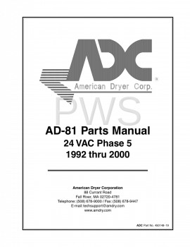 Diagrams, Parts and Manuals for American Dryer AD-81 Dryer