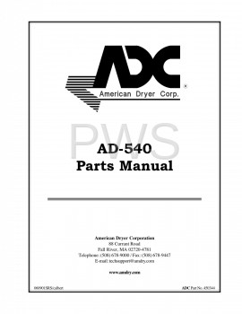 Diagrams, Parts and Manuals for American Dryer AD-540 Dryer