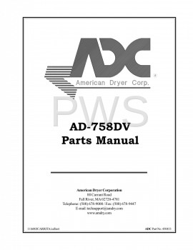 Diagrams, Parts and Manuals for American Dryer AD-758DV Dryer