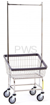 R&B Rolling Front Load Laundry Cart/Chrome Basket 100T58