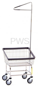 R&B Rolling Front Load Laundry Cart/Chrome Basket P/N