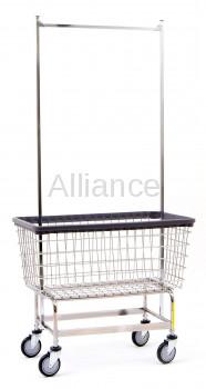 R&B Wire 201H56 Mega Capacity Laundry Cart w/ Double Pole Rack
