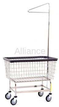 R&B Wire 201H91 Mega Capacity Laundry Cart w/ Single Pole Rack