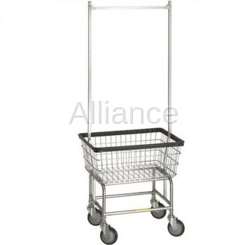 R&B 100E58 Laundry Cart w/Double Pole Rack on Wheels
