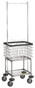R&B Elevated Laundry Cart/Chrome Basket P/N 300G55 Comml
