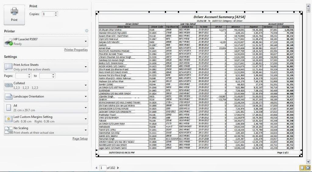 Print Header in Excel