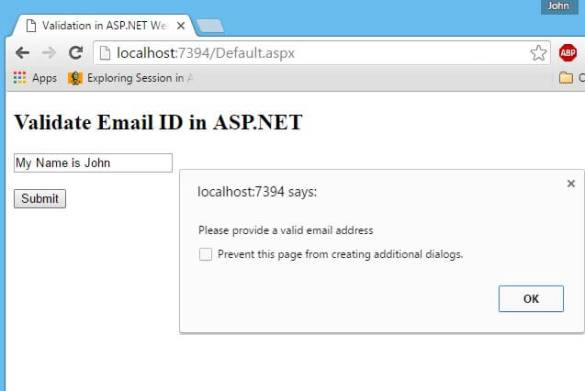 Email Validation in ASP.NET using JavaScript Regular Expression