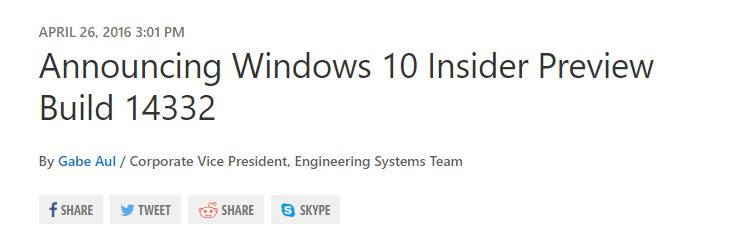 Windows 10 Build 14332