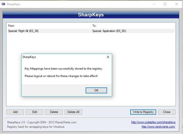 SharpKey - Keyboard Mapping Software