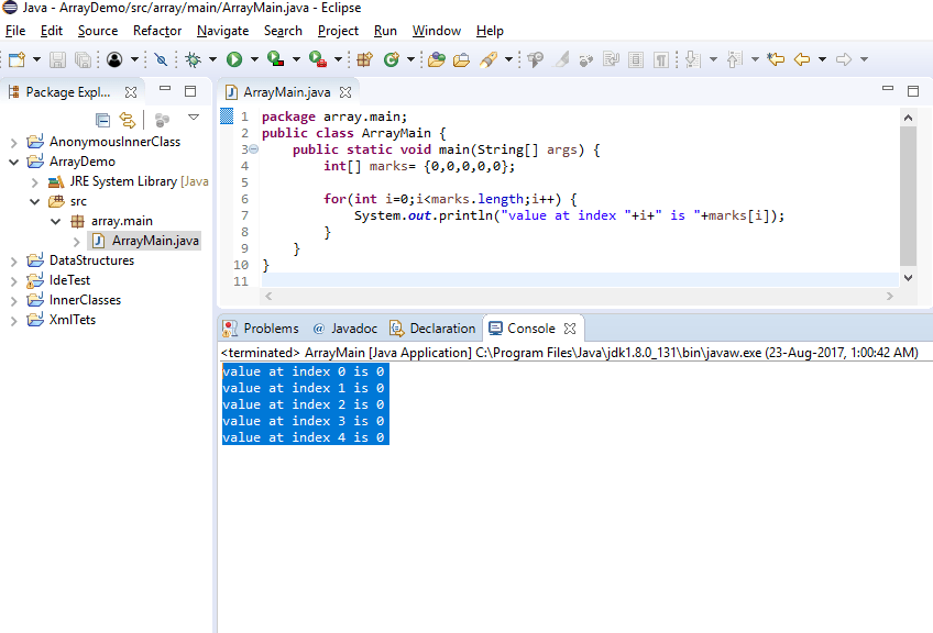 Output primitive array