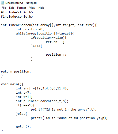 Linear Search _Code_in_C