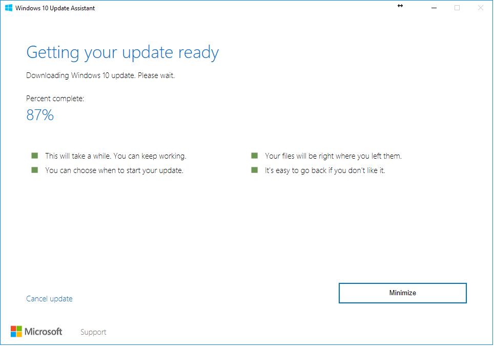 Downloading Windows 10 Creators Fall Update