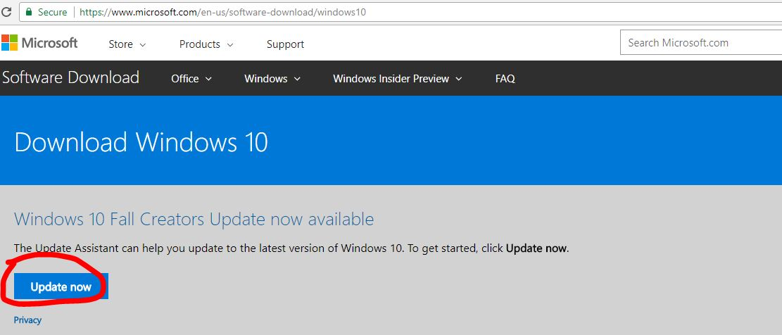 Download Windows 10 Fall Creators Update