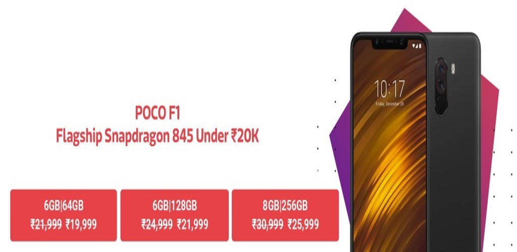 Massive Discount on POCO F1. 8GB/256 GB variant for 25,999 only.