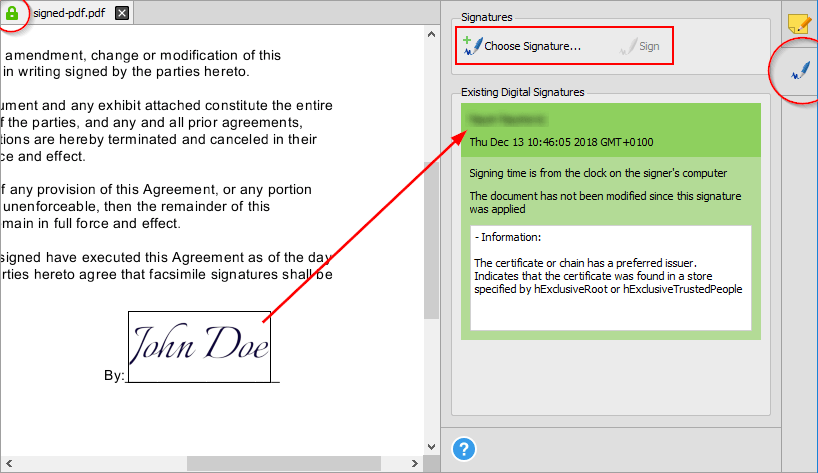 Able2Extract Professional 14 - Digital Signature Panel