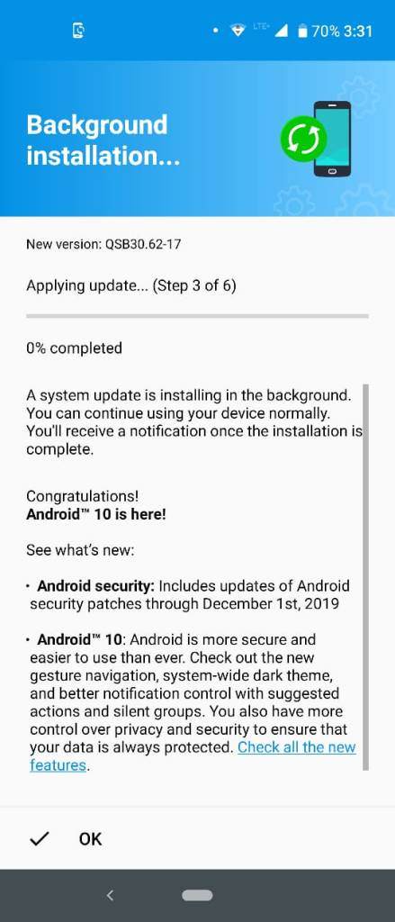 Android 10 Build QSB30.62-17 in Moto One Action