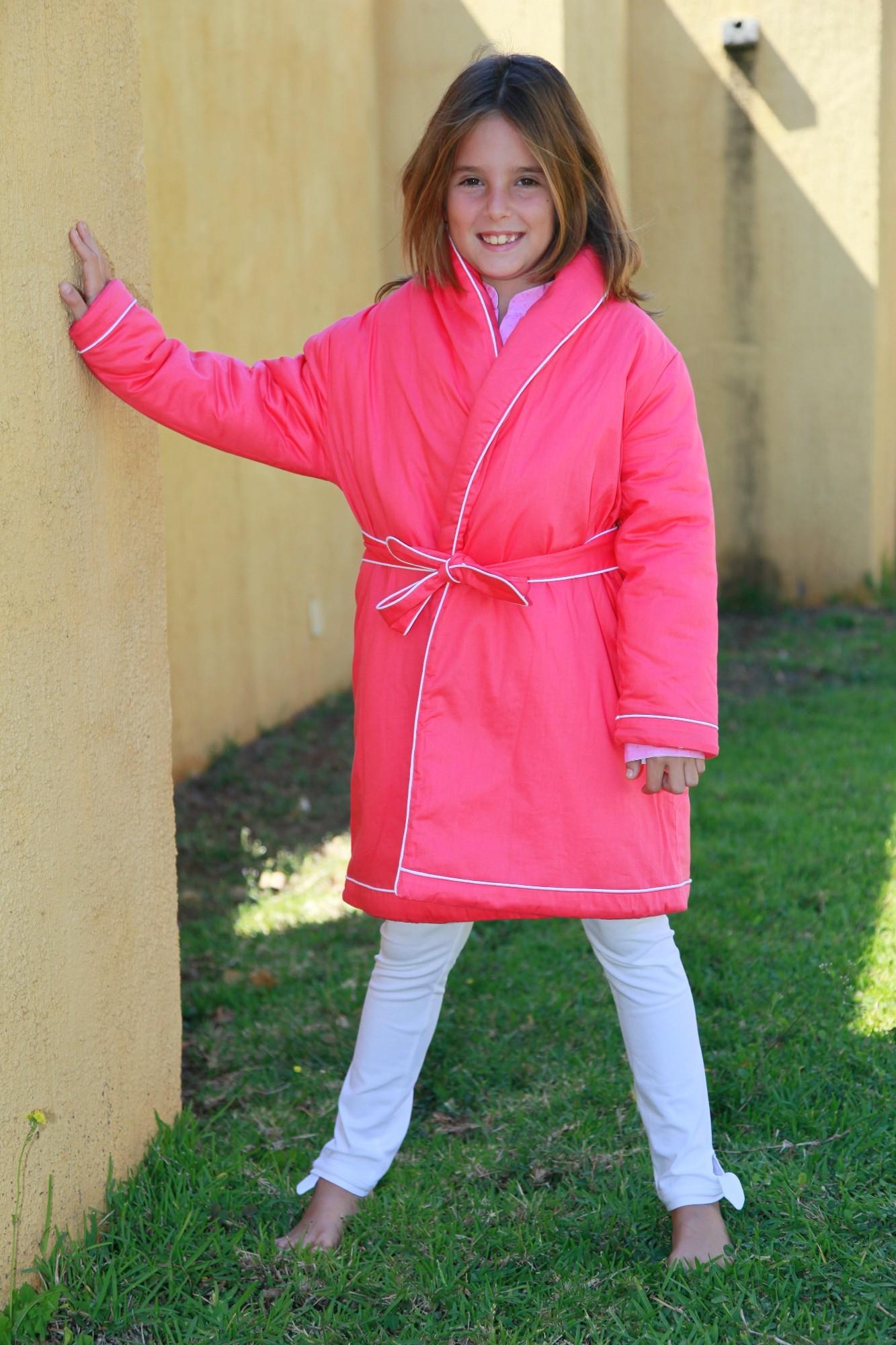 Robe de Chambre Fille Fushia Etoile  Lorangerie