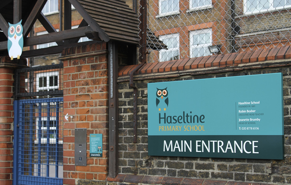 A consistant signage program for Haseltine school designed by Pylon Design