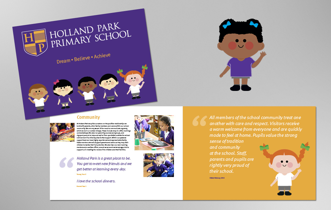 A strongly branded school prospectus for Holland Park by Pylon Design