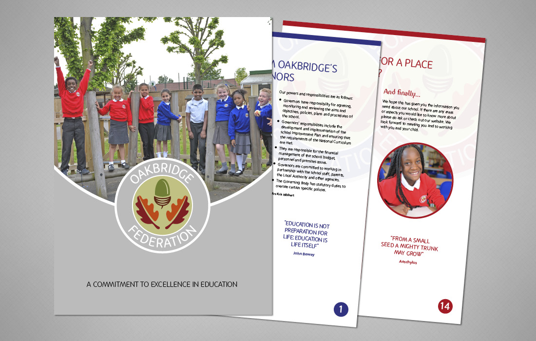 Universal folder and inserts for Oakbridge Federation prospectus designed by Pylon Design