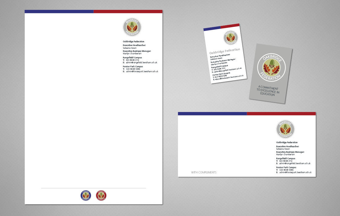 A clean, professional stationery solution for the Oakbridge Federation designed by Pylon Design