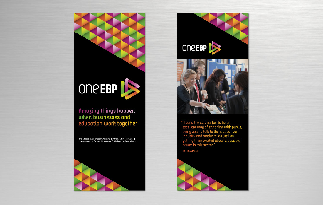 Simple, branded, pull-up banners for oneEBP by Pylon Design