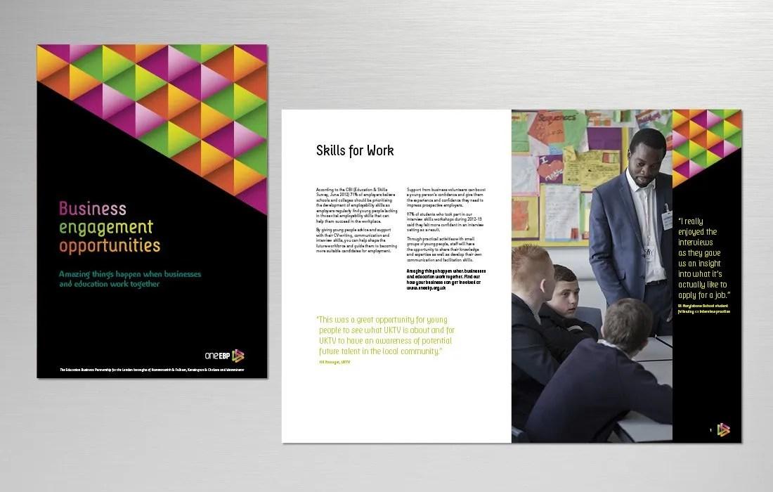 Bold and elegant branded brochure for oneEBP by Pylon Design