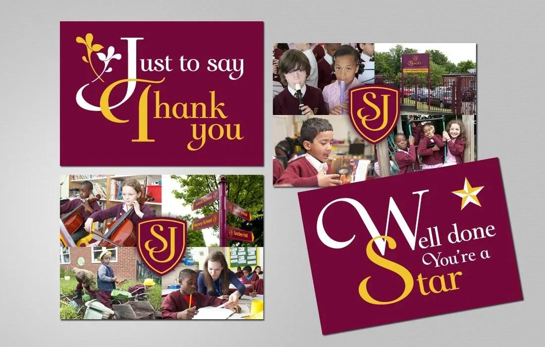 Striking series of postcards following the St Joseph's brand designed by Pylon Design