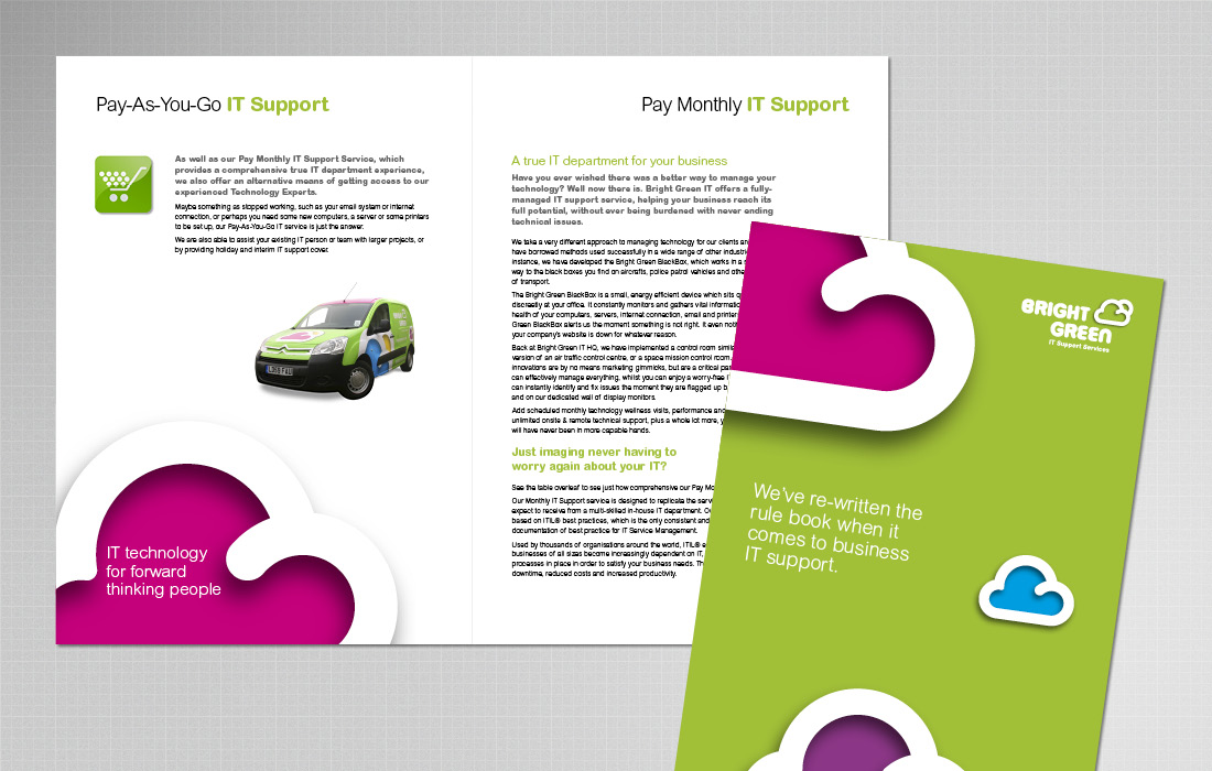 Bold, colourful Bright Green corporate brochure by Pylon Design