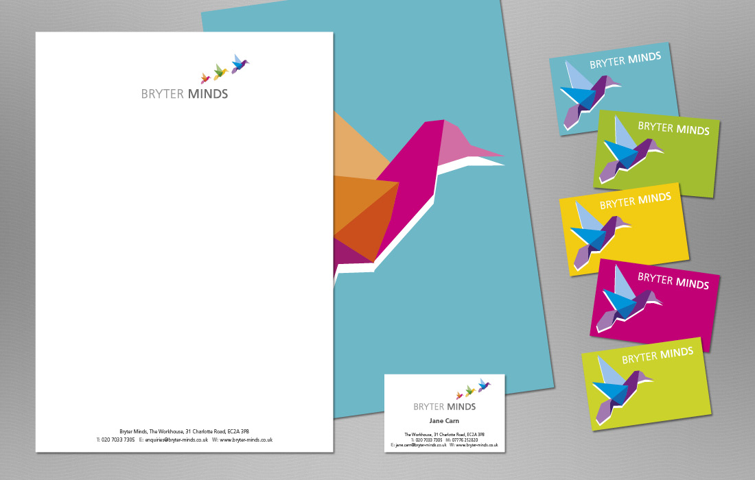 Colourful, striking stationery range for Bryter Minds by Pylon Design