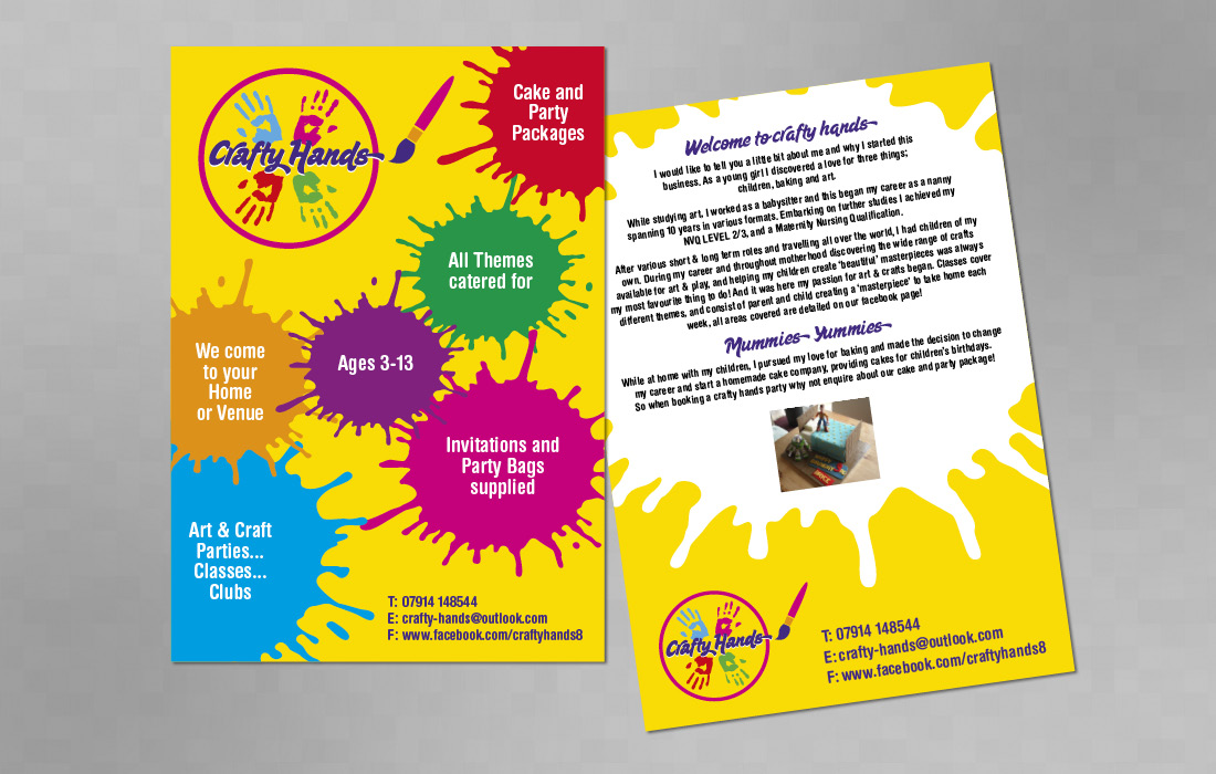 Crafty Hands 2 page informative leaflet by Pylon Design