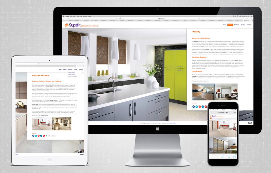 A catalogue style, fully responsive website for Supafit by Pylon Design