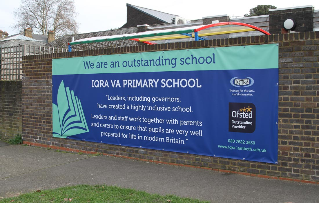 IQRA Primary School in Clapham London, exterior banners
