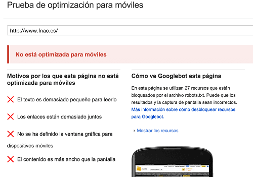 Pagina web sin version responsive