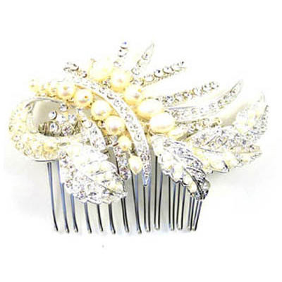 swarovski crystal pearl bridal leaf hair b