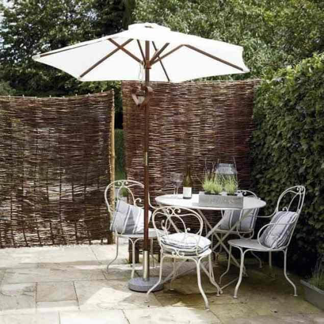 bamboo screening around outdoor dining area