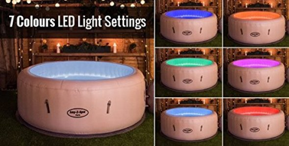 Lay-Z-Spa Paris inflatable hot tub LED light show