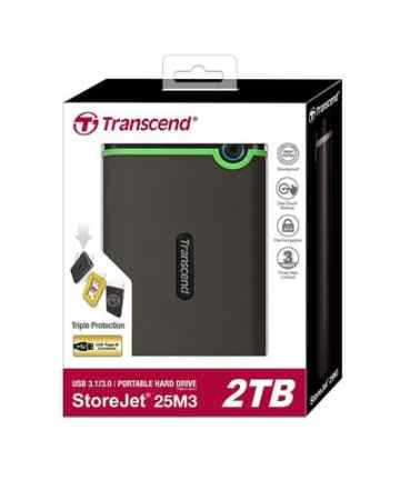Computer Data Storage TRANSCEND Storejet 25M3 – 2TB – USB 3.1 External Hard Drive -Grey [tag]