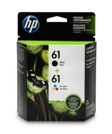 Printers & Accessories HP 61 Black & Tri-color Original Ink Cartridges, 2 pack (CR259FN) [tag]