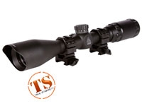 "UTG 3-9x40 TF2+ Rifle Scope, Mil-Dot Reticle, 1/4 MOA, 1"" Tube, See-Thru Weaver Rings"