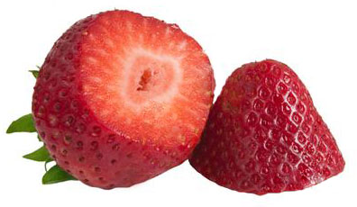 Strawberry sliced in half crosswise