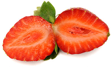 Strawberry sliced in half lengthwise