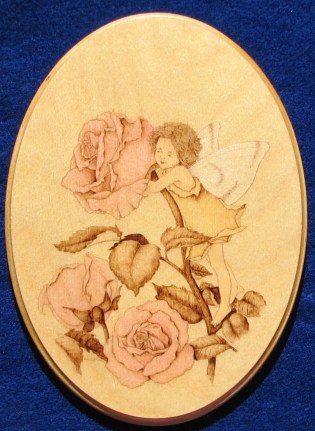 rose flower fairy wood burning pyrography bmj