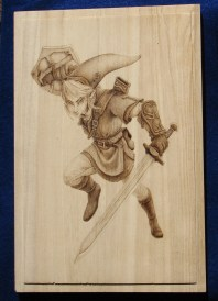 Zelda link wood burning pyrography bmj