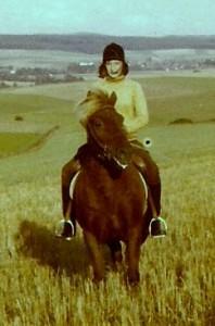 Reitjagd 1974 auf meiner Isländerstute Silka