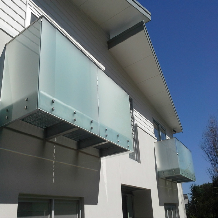 Architectural Frosted Glass Balcony Railing System | Frosted Glass Stair Panels | Smoked | Toughened | Deck | Balcony | Contemporary