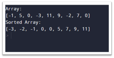 Output for timsort algorithm obtained by executing the given code