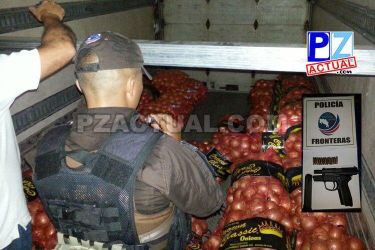 Desde armas, hasta licores entre cebollas, sandalias y celulares, decomisó la Policía de Fronteras.